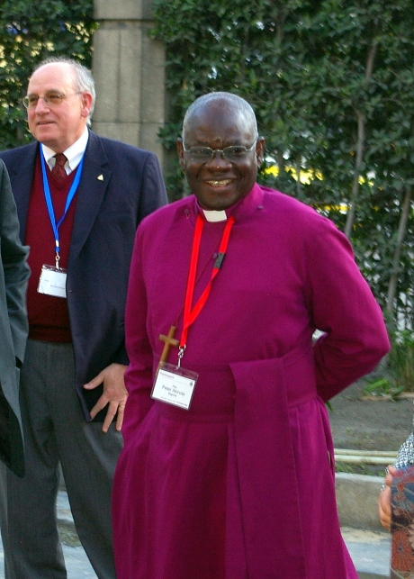 The Primate of Nigeria, Archbishop Peter Akinola outside St Mark's Cathedral in Alexandria, Feb 1, 2009