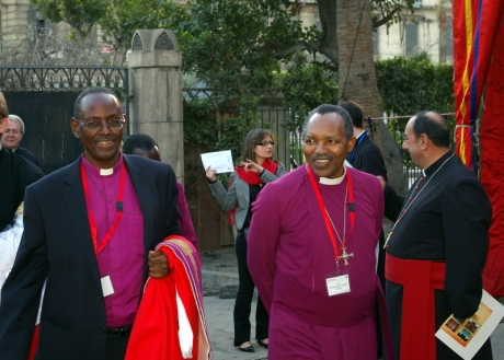 The Primates of Burundi and Rwanda, Archbishops Bernard Ntahoturi and Emmanuel Kolini at St Mark's Cathedral in Alexandria on Feb 1, 2009.