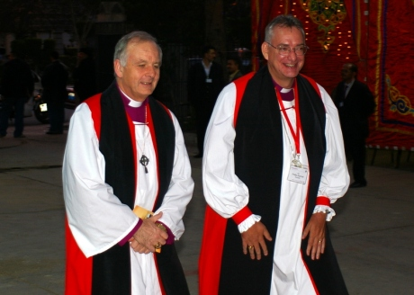 The Primate of Wales, Archbishop Barry Morgan, and the Primate of Australia, Archbishop Philip Aspinall entering St Mark's Cathedral in Alexandria, Egypt on Feb 1, 2009