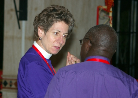 Presiding Bishop Katharine Jefferts Schori and the Archbishop of York conferring at the Primates Meeting  in Alexandria. First published in The Living Church magazine.