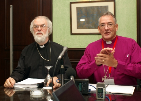 The Archbishop of Canterbury and the Primates Media spokesman, Archbishop Philip Aspinall at the closing press conference of the 2009 Primates Meeting on Feb 5.