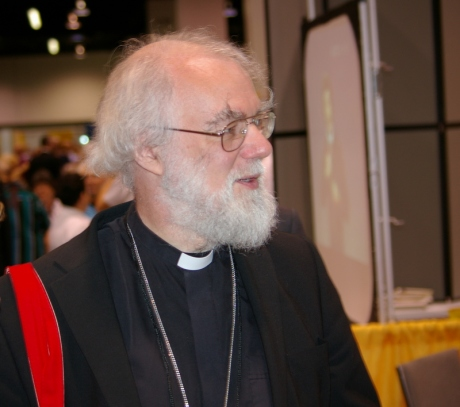 "Archbishop of Canterbury Rowan Williams arrives at the Anaheim Convention Center July 8. Archbishop Williams will participate in this evening's panel discussion on ""Christian Faithfulness in the Global Economic Crisis."""